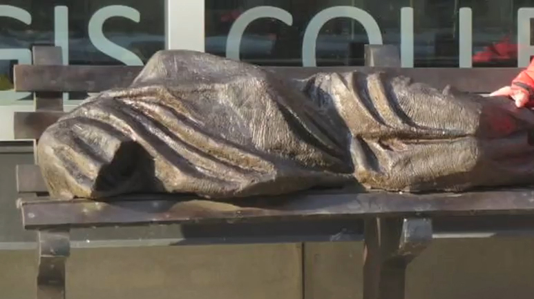 Jesus Sculpture Depicts Homeless Life