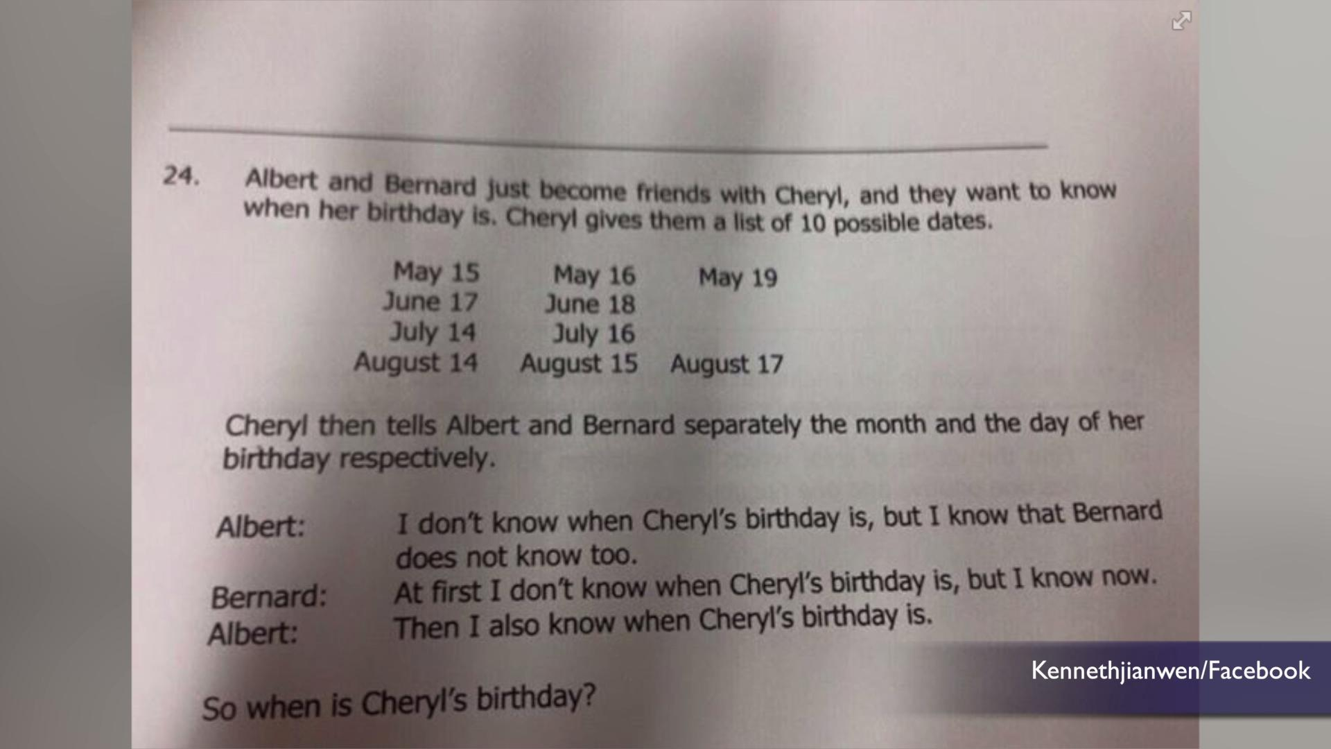 Math Riddle About Cheryl's Birthday Stumps the Internet