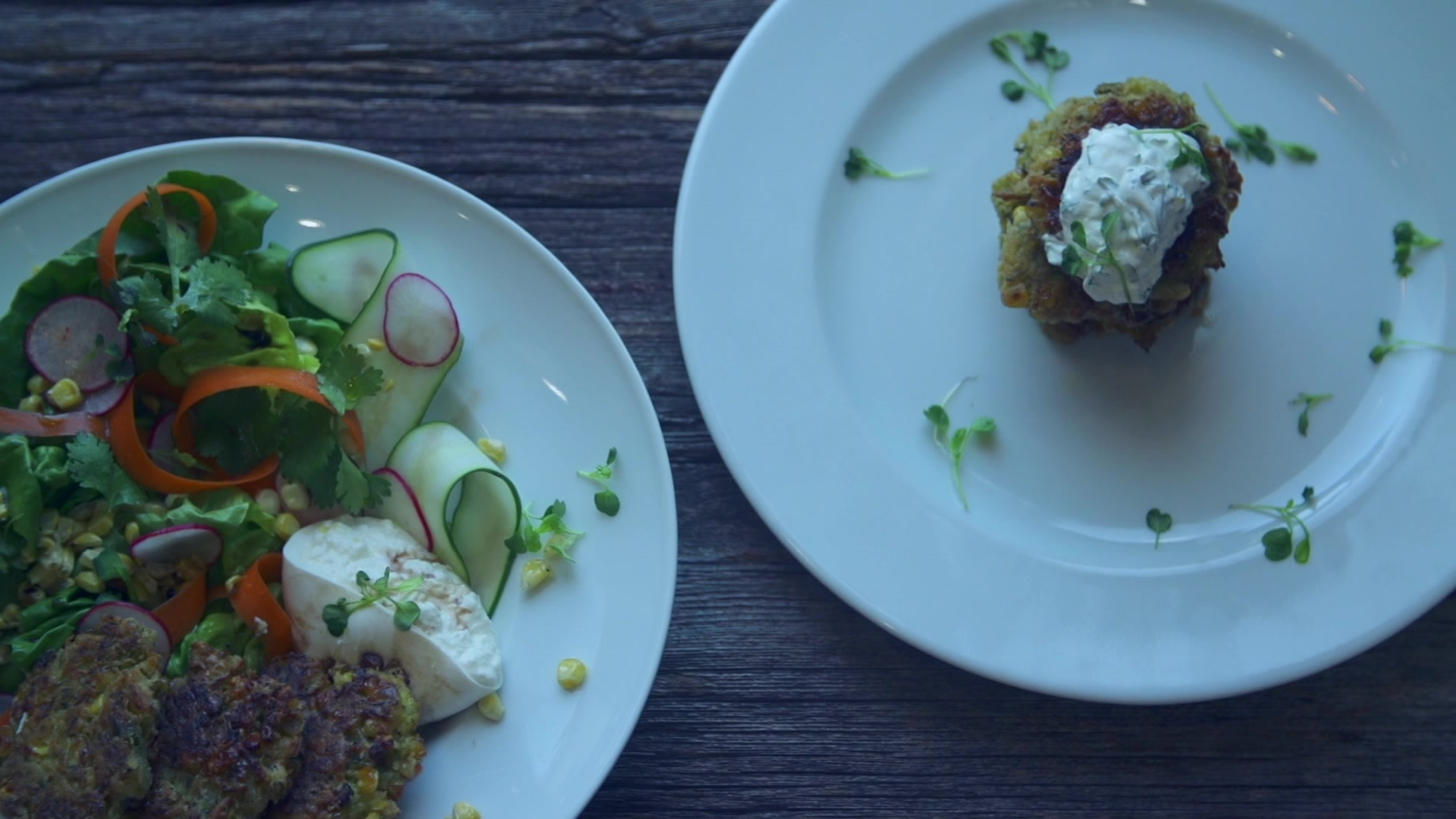 How to Make Zucchini and Corn Fritter with Burrata Salad