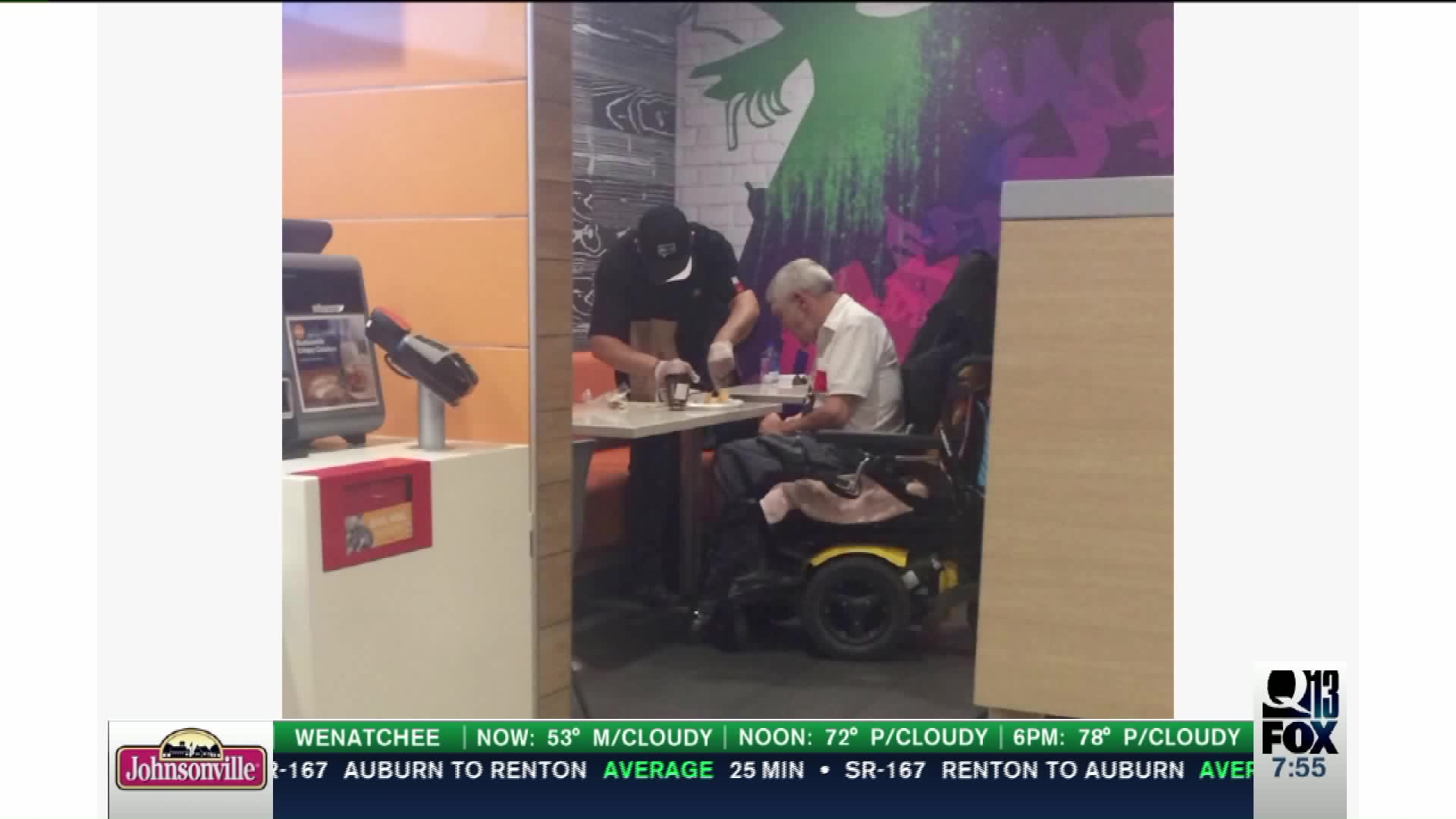 McDonald's Employee Goes Viral After Helping Elderly Man Feed Himself