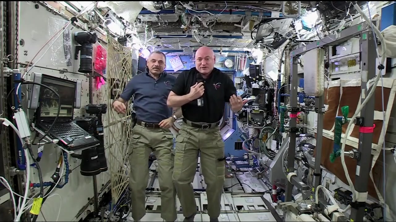 Scott Kelly and Mikhail Kornienko Show Off Their Best Moves in Microgravity