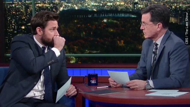 John Krasinski and Stephen Colbert Test Their Fake Vomiting Skills