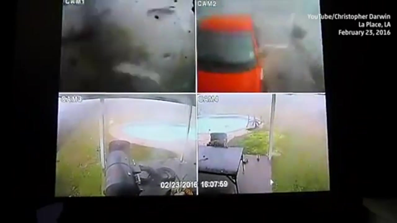 Security Cams Capture Destruction of Louisiana Tornado