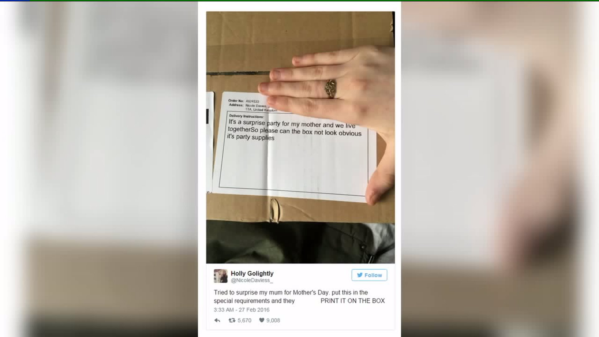 Woman's Perfect Mother's Day Surprise Ruined by Delivery Note
