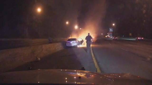 Video: Police Officers Save Man From Burning Car In Maryland