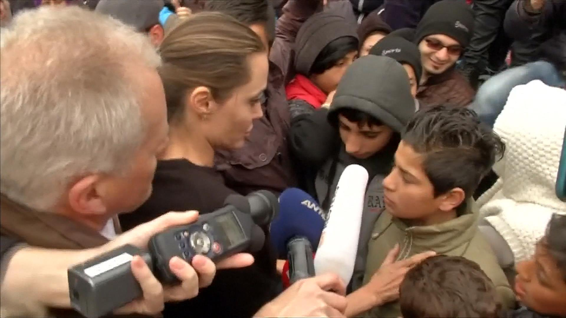Angelina Jolie Mobbed on Visit to Meet Migrants