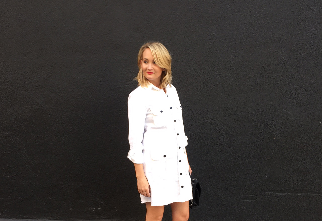 How to Wear a White Jean Dress