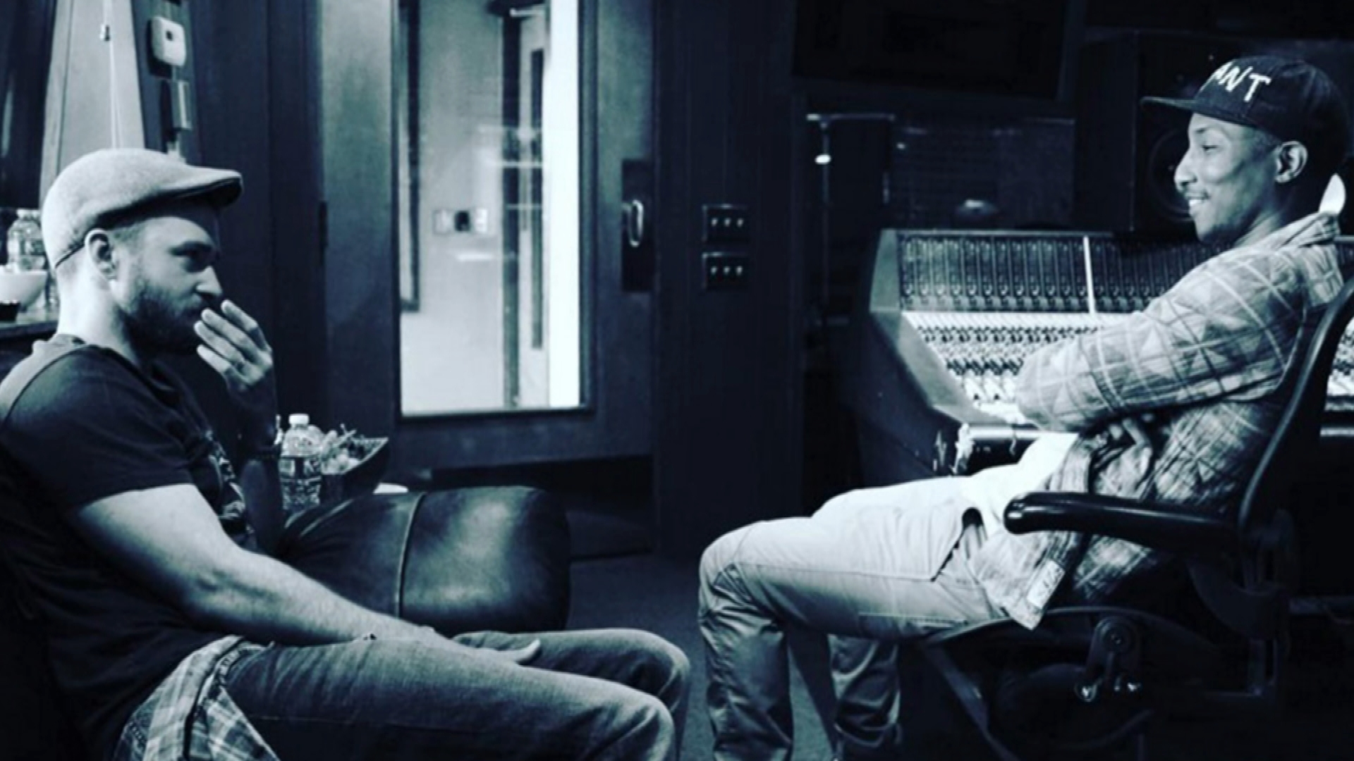Justin Timberlake and Pharrell Hit the Studio Together