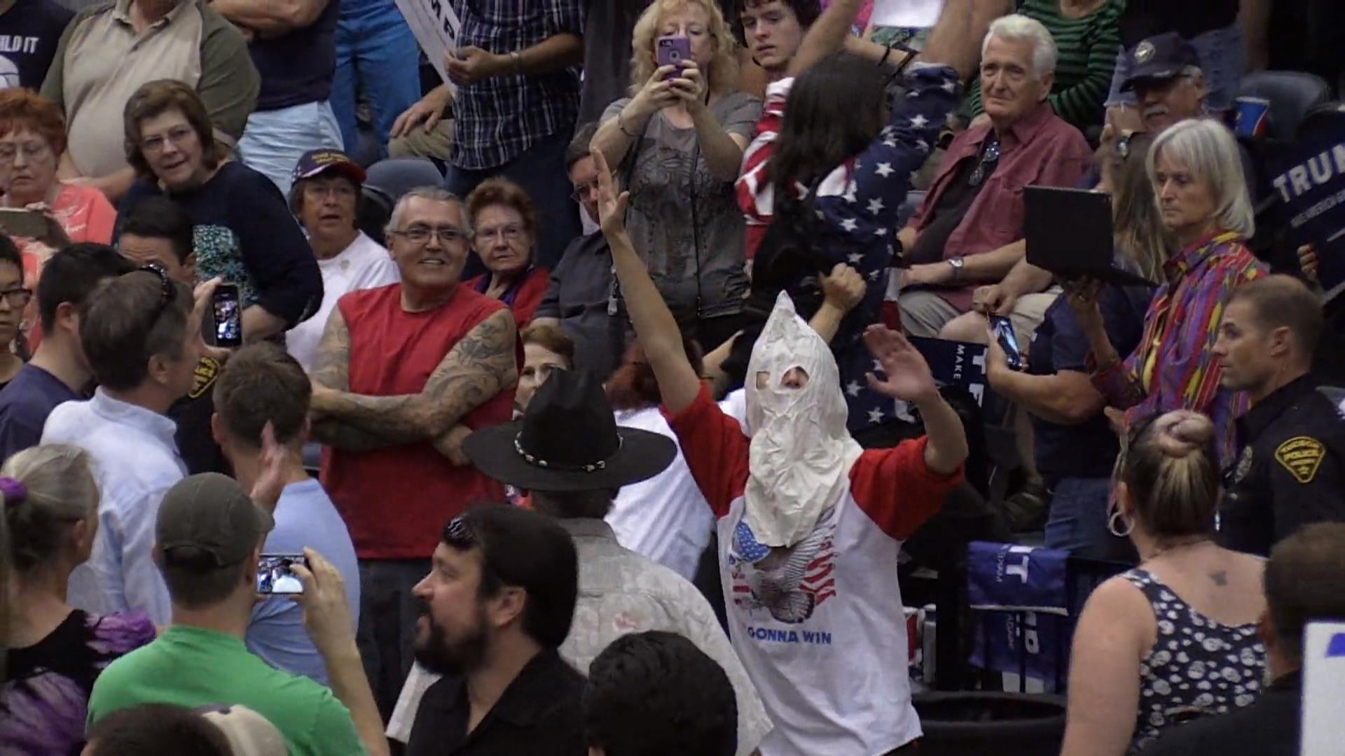 Man in Fake Klan Outfit Disrupts Trump Rally