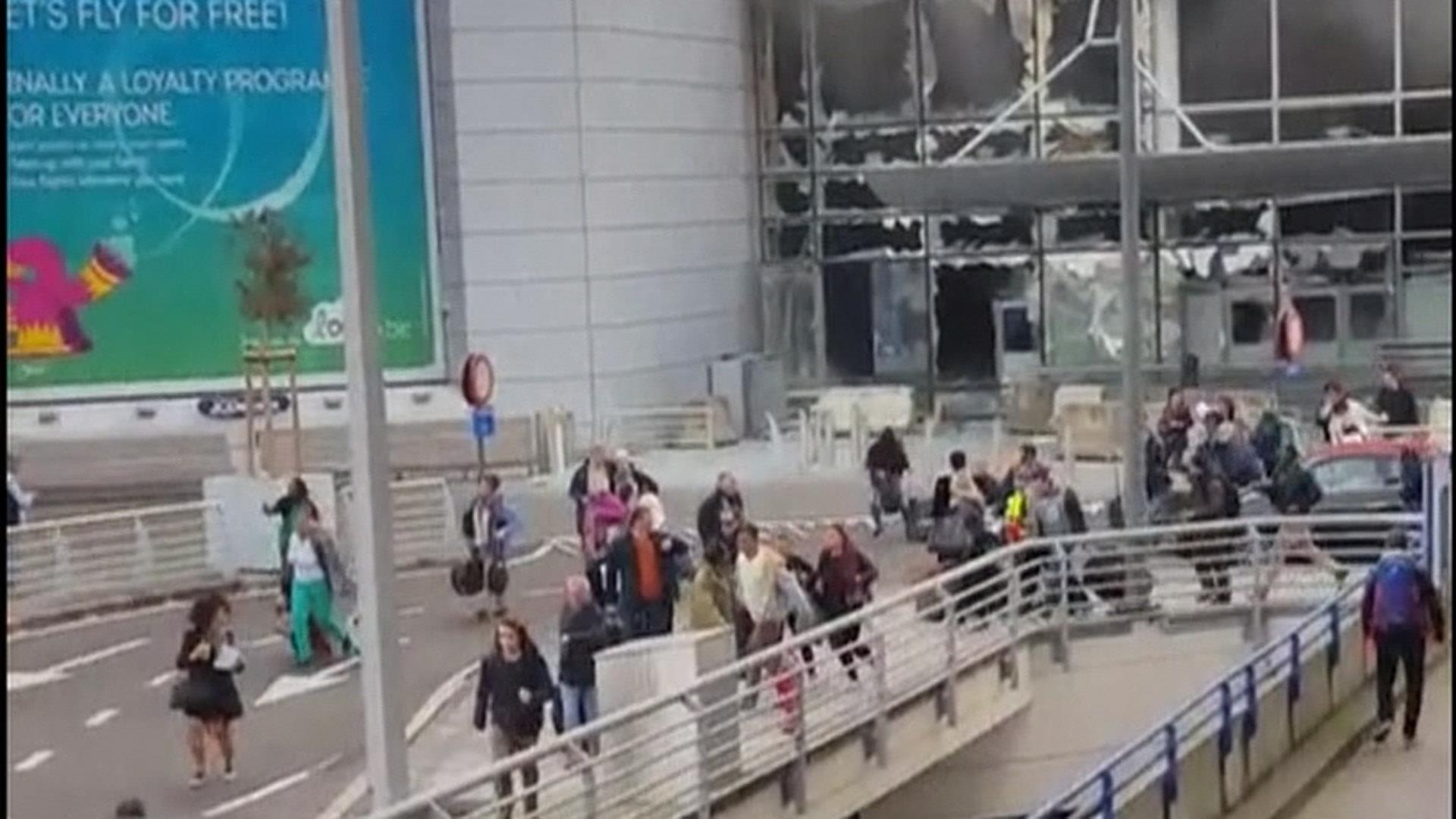 Chaos At Brussels Airport After Blasts