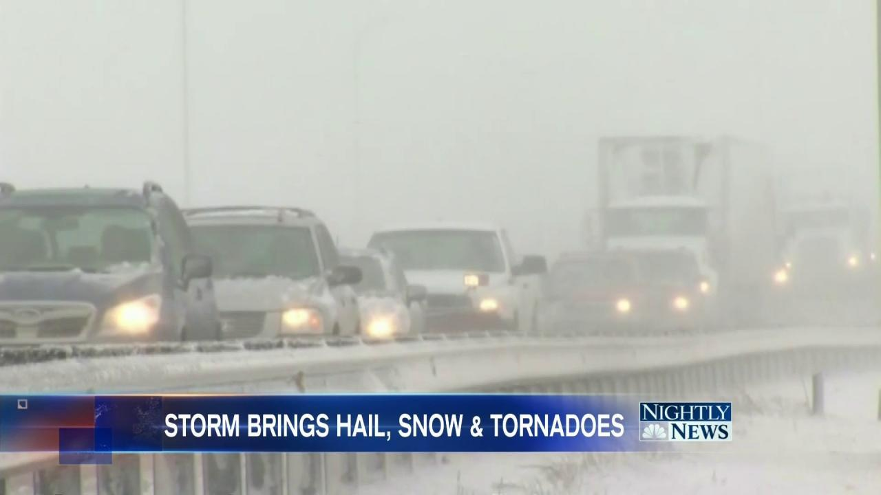 Spring Storms Bring Blast of Snow to Midwest, Tornadoes to South
