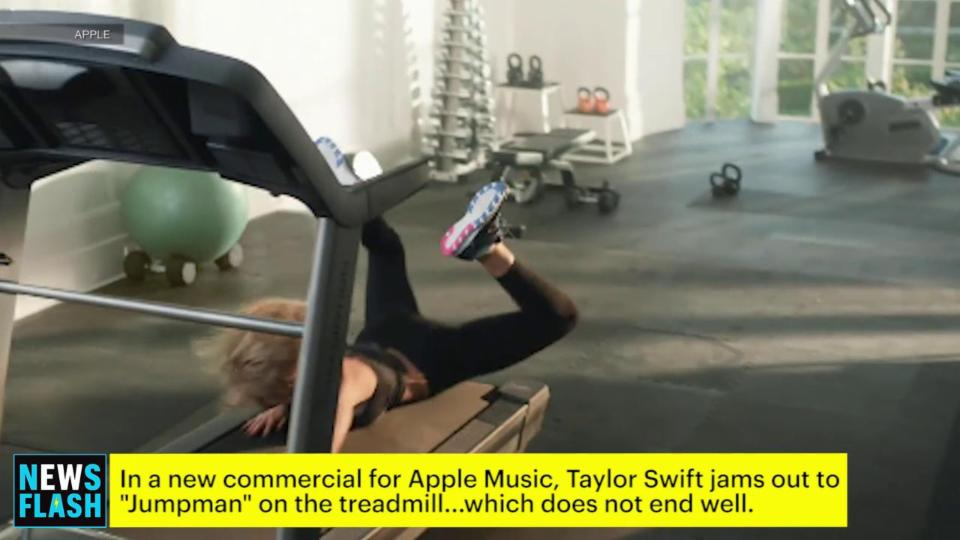 Taylor Swift Falls Off Her Treadmill in New Apple Music Commercial