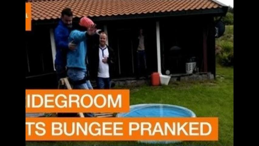 Bridgeroom Gets Pranked by Bungee Jump Set-Up