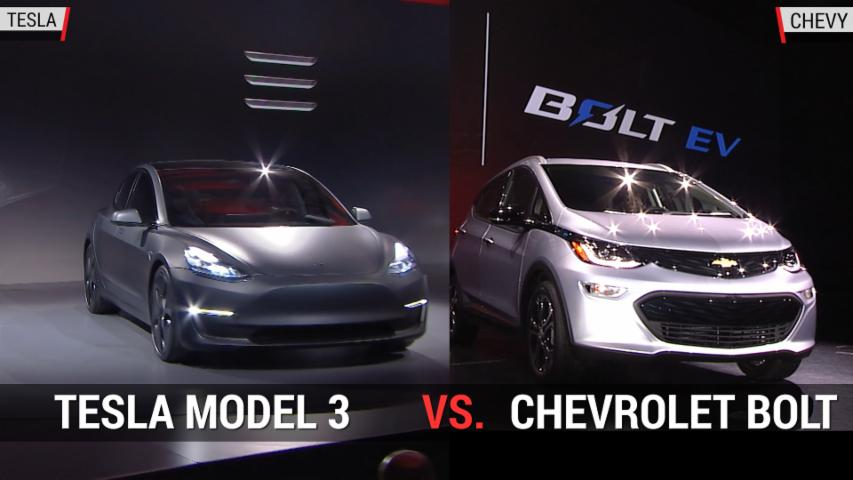 Tesla Model 3 versus Chevy Bolt | Autoblog Minute