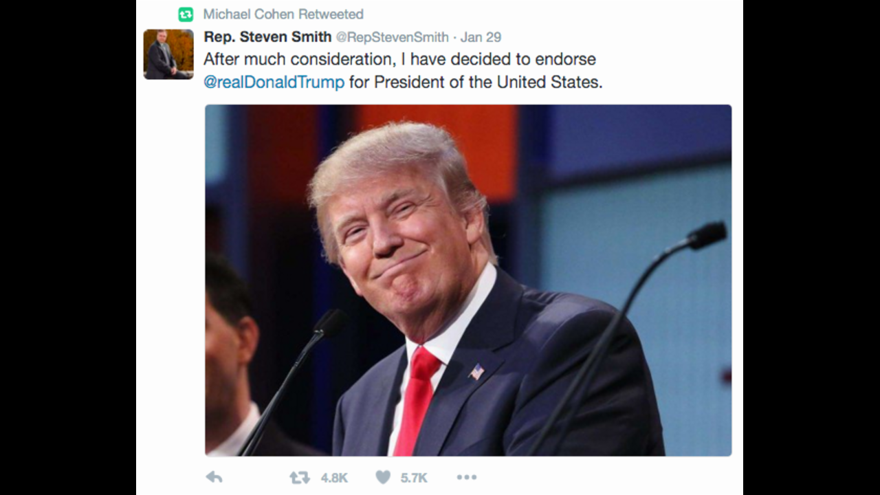 Trump aide retweets endorsement from fake congressman