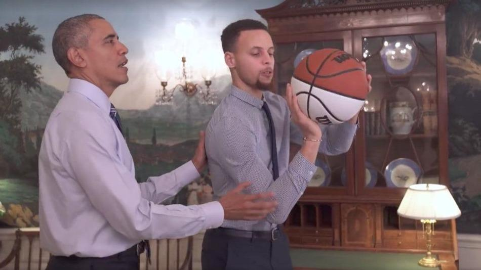 Obama teaches NBA all-star Stephen Curry how to play basketball