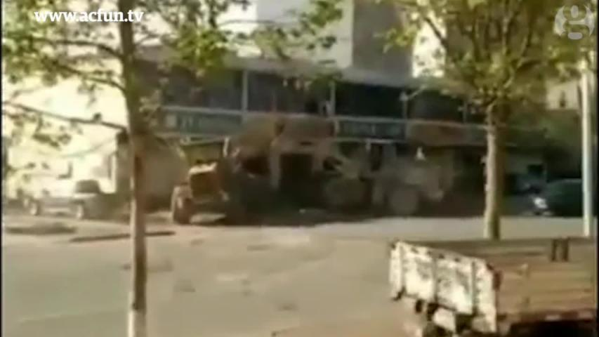 Bulldozers Battle on Street in Northern China