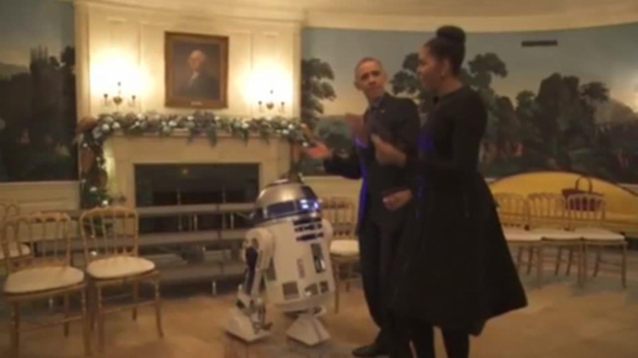 Obamas dance with Star Wars characters in White House to celebrate Star Wars Day
