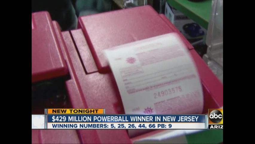 Winning Powerball jackpot ticket sold in New Jersey