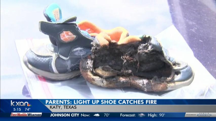 Parents say their child's 'light-up' shoes caused fire, torched car
