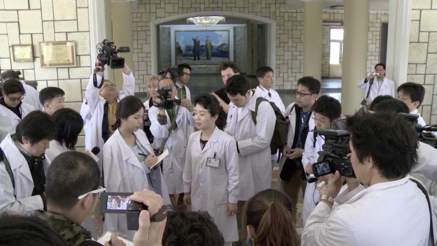 Journalists tour a North Korean hospital under close supervision