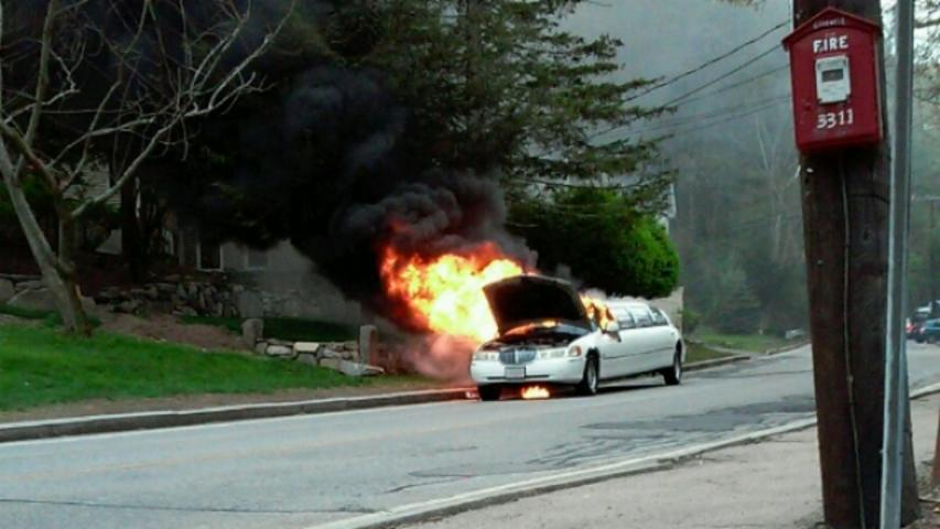 A Limo Heading to Prom Catches on Fire — Twice