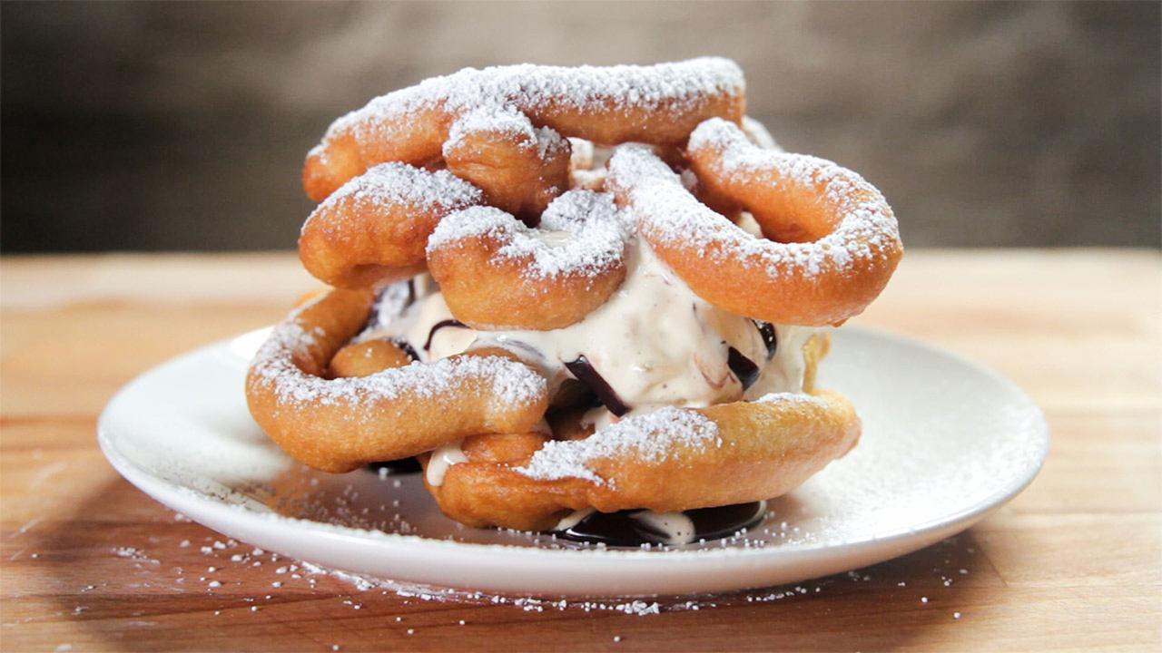 Funnel Cake Ice Cream Sandwich, Get It While It's Hot...Cold..Hot and Cold...