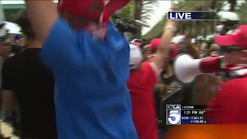 Protestors Clash With Trump Supporters Outside Of California Rally