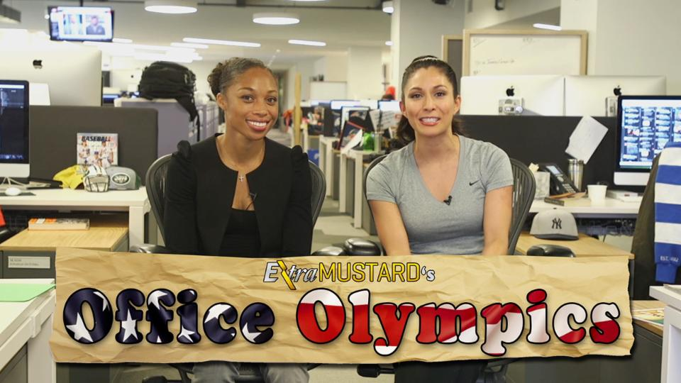 Three-time Olympic champion runner Allyson Felix participates in Extra Mustard Office Olympics