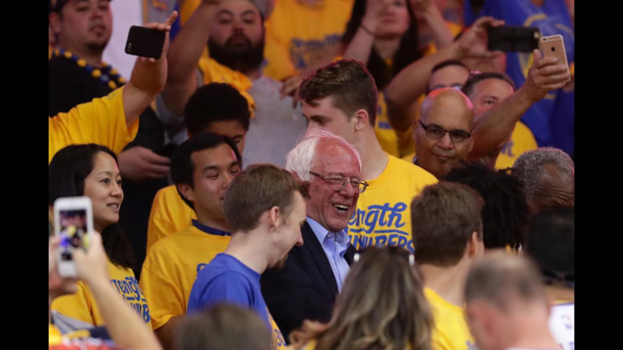 Bernie Sanders shows up to Warriors Game 7 - and everyone goes mad