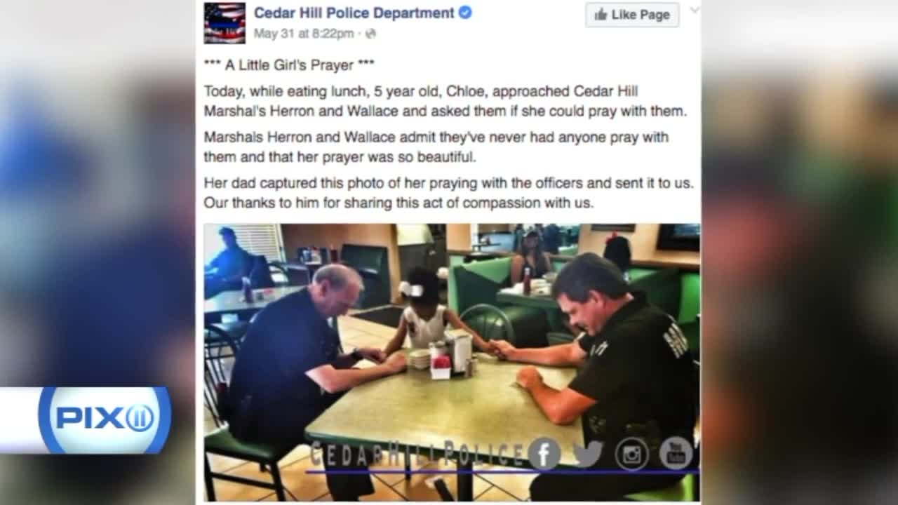 Girls Asks Officers To Pray With Her Before Lunch