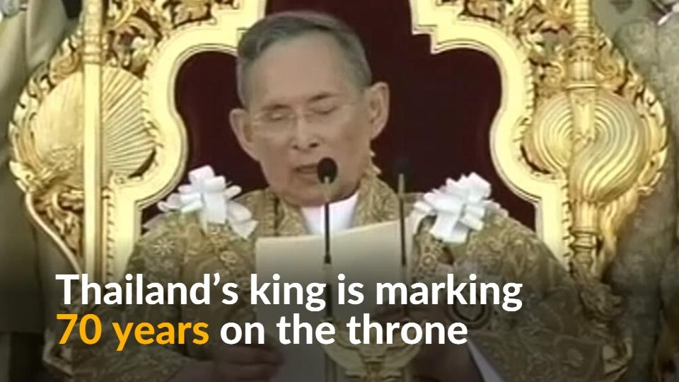 Thais celebrate 70 years of king's reign amid worries over his health