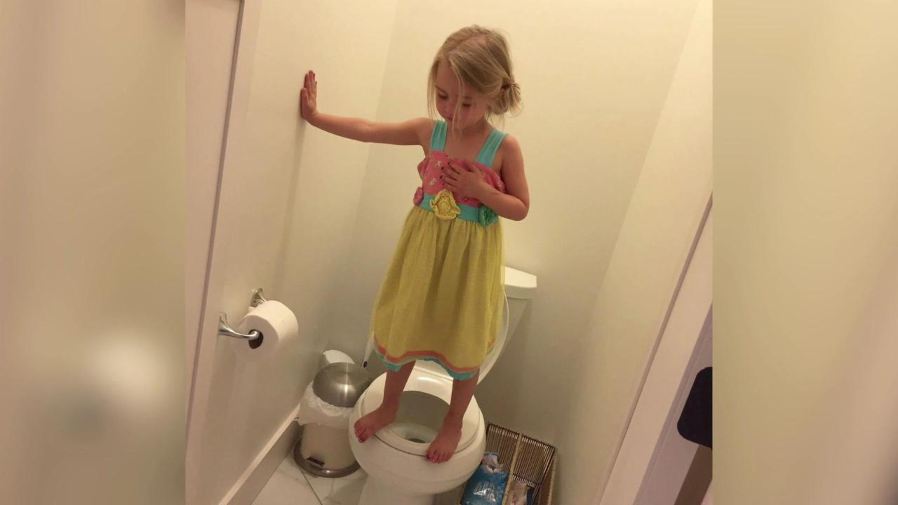 Little Girl Practicing for Gun Lockdown Drill on Toilet Wakes up America