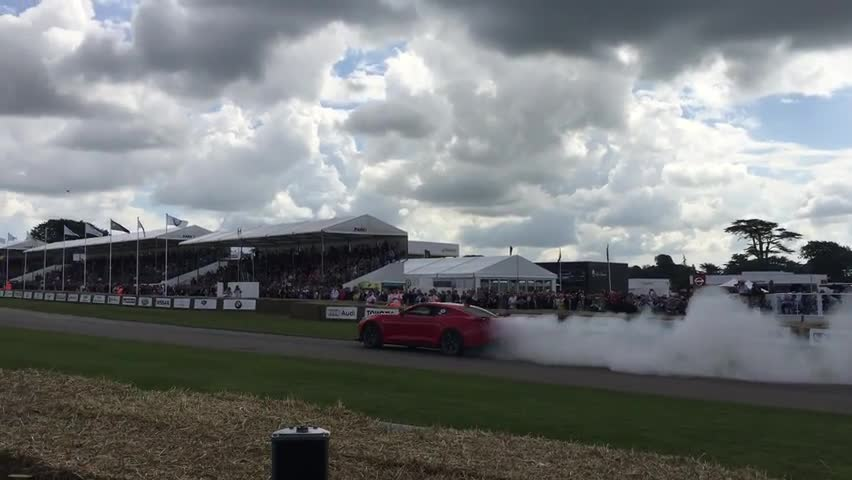 2017 Chevy Camaro ZL1 burnout at Goodwood Festival of Speed