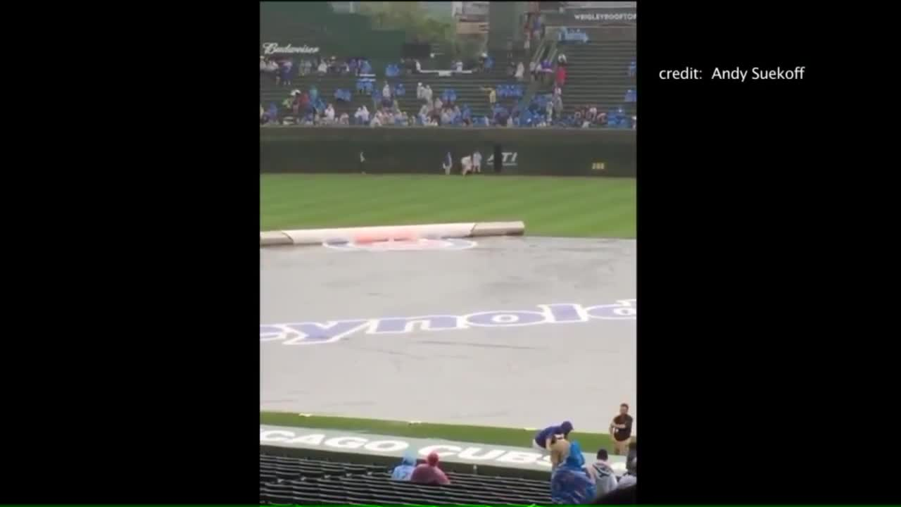 Fan Falls from Wrigley Field Bleachers Onto Field