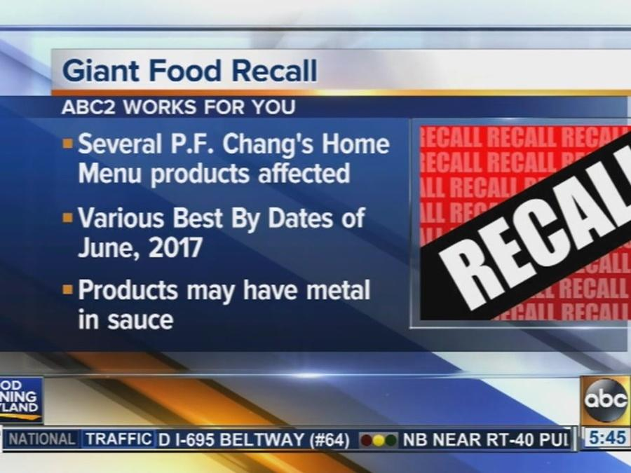 Giant recalls some P.F. Chang's Home Menu products