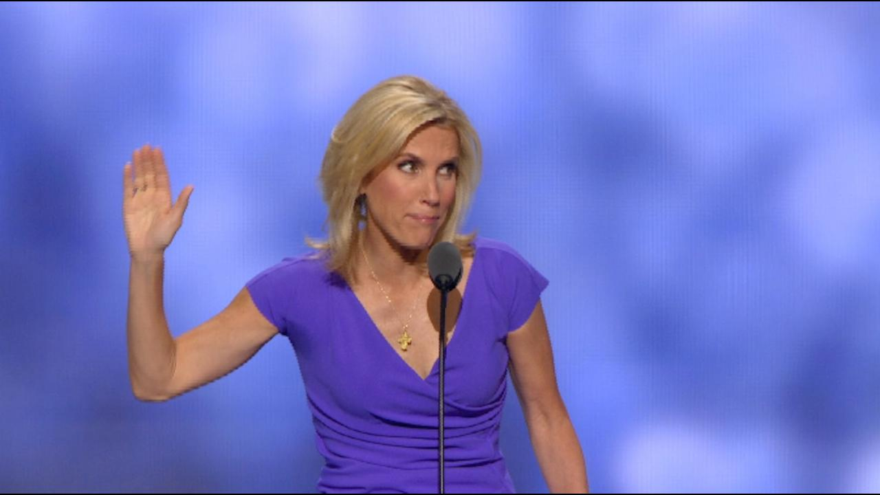 Laura Ingraham waves goodbye as she exits the GOP convention stage