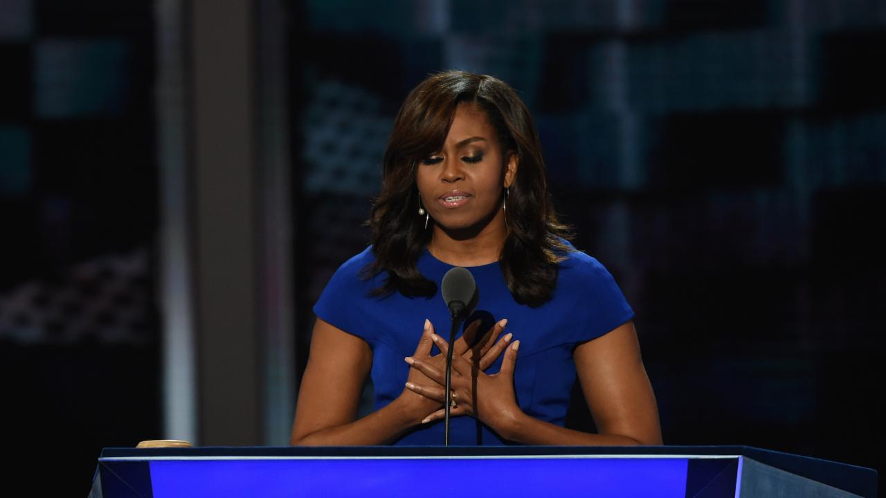 Michelle Obama gets emotional during convention speech