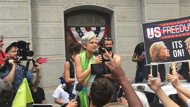 Jill Stein Seeks 'Never Hillary' Voters at DNC 2016