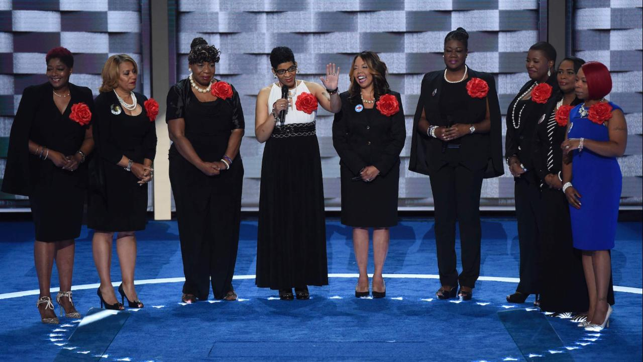 Mothers of gun violence victims support Clinton on convention stage