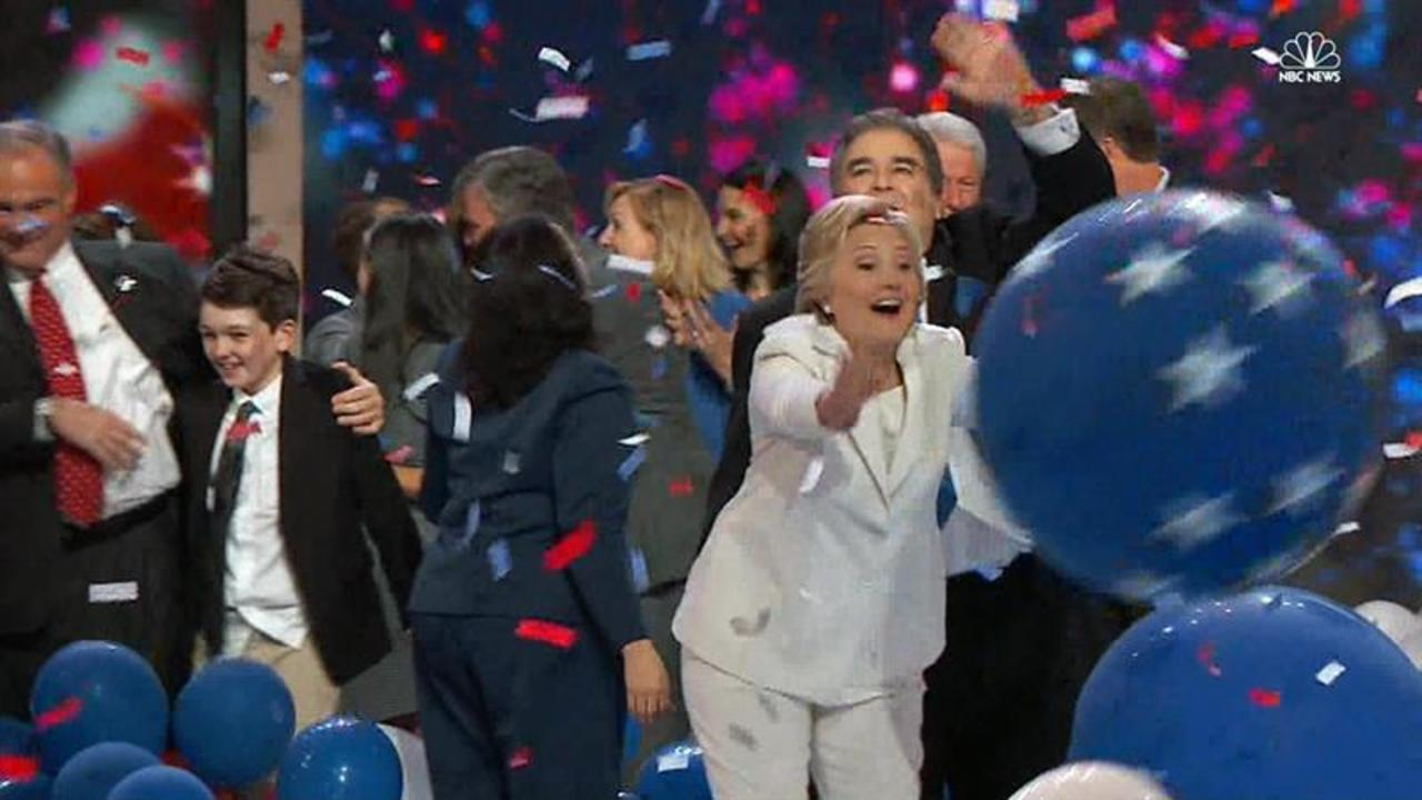 Watch: Clinton and Friends Celebrate Nomination With Balloons