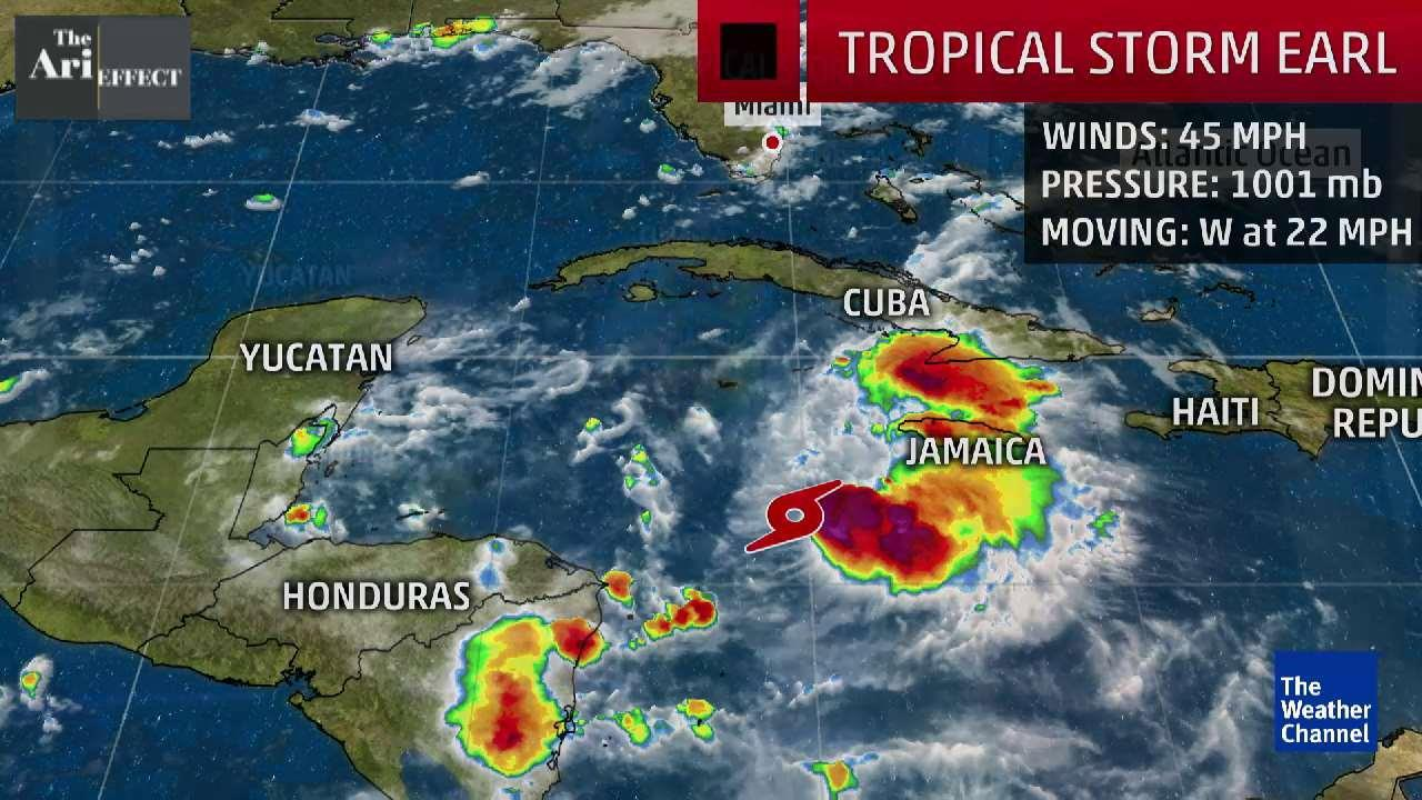 tropical storm earl brushes honduras  hurricane warnings