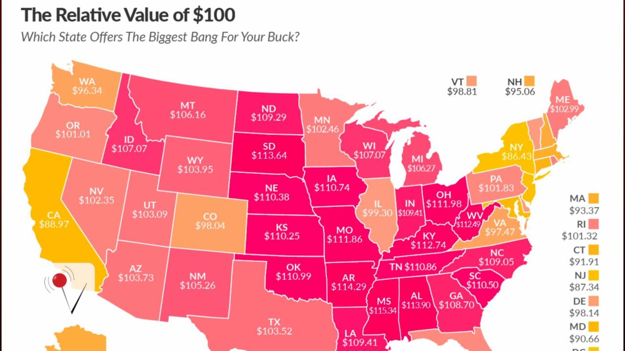 Just How Much is $100 Worth in Your State?