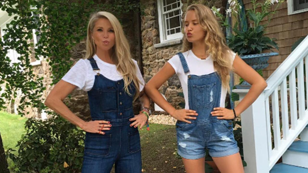 Christie Brinkley Wears 'Mommy & Me' Overalls with Look-a-Like Daughter Sailor
