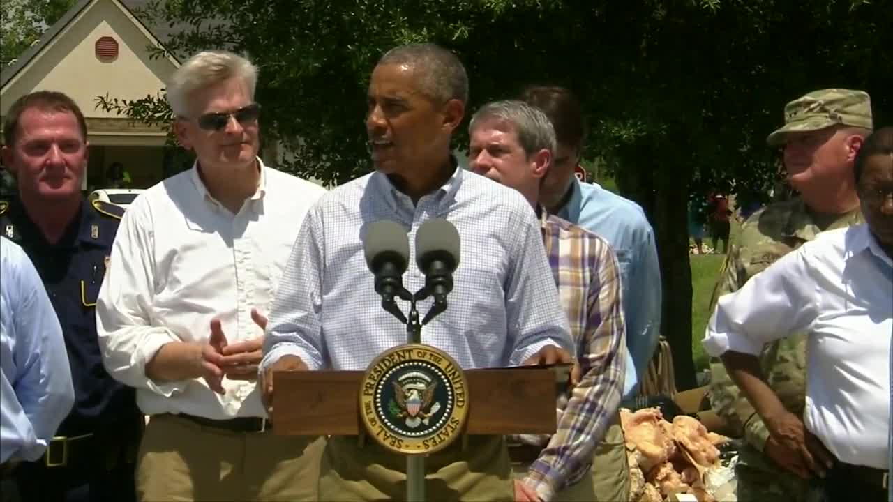Obama says flooding has 'upended' lives in Louisiana