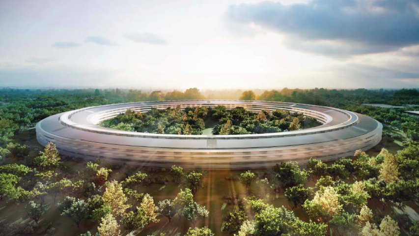 "Drone reveals details of new Apple ""spaceship"" campus"
