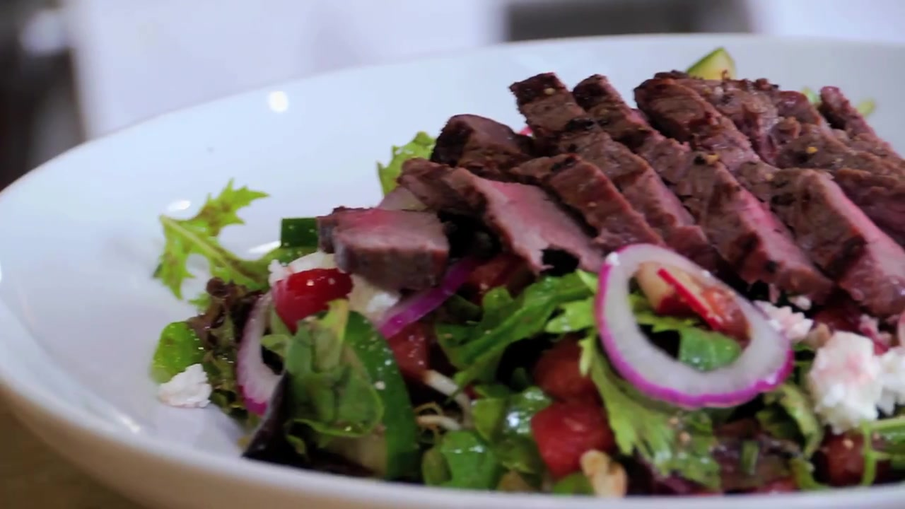 Grilled Sirloin Steak Salad Recipe With Watermelon