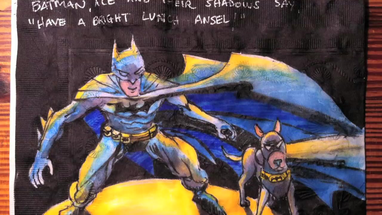 Mom Creates Intricate Drawings on Kids' Lunch Napkins
