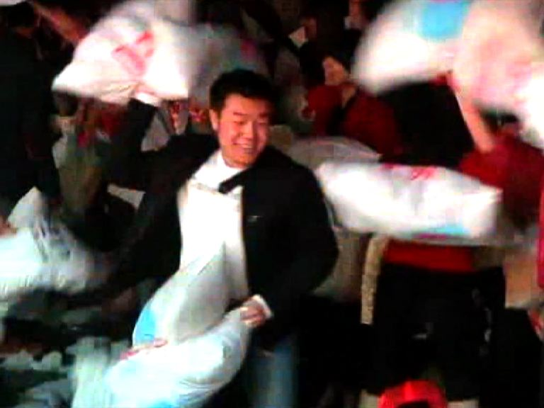 Massive Pillow Fight in Shanghai