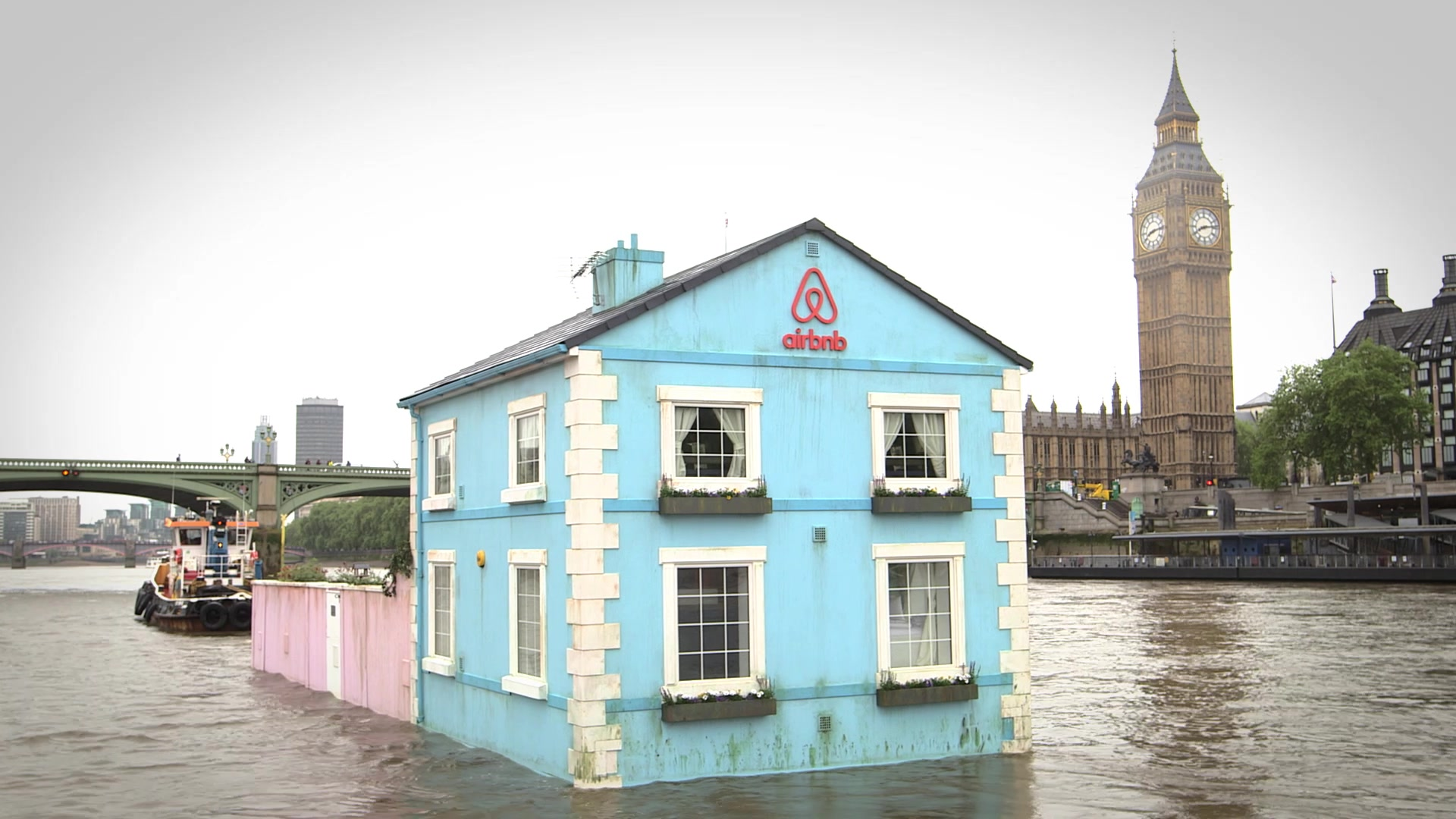 Floating House Sets Sail on London's River Thames